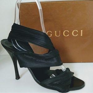 Gucci heeled sandal ruched black shoe
